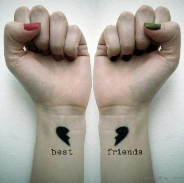 Best Friend Broken Heart Tattoo