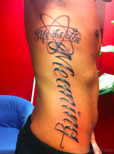 Best Stylish Atheist Tattoo Design On Side Rib