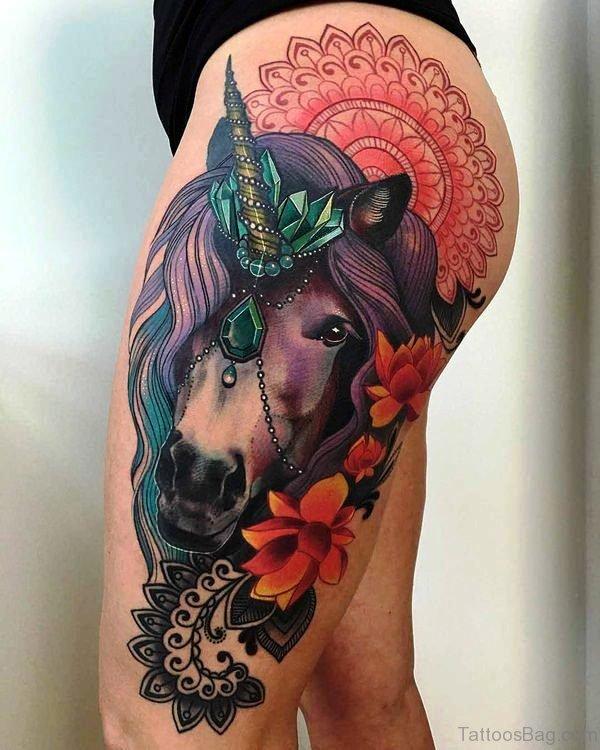 Best Unicorn Tattoo On Thigh