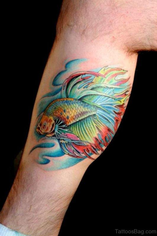 Betta Fish Tattoo On Leg