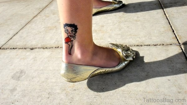 Betty Boop Tattoo Design On Ankle