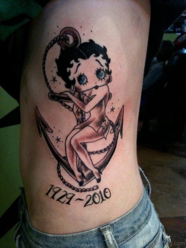 Betty Boop Tattoo On Rib
