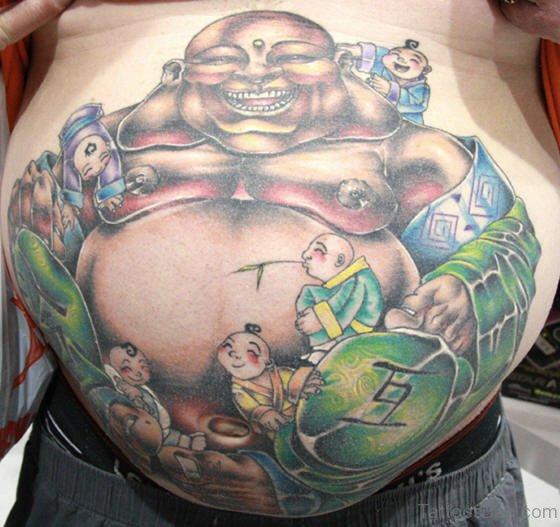 Bhudda Tattoo On Stomach