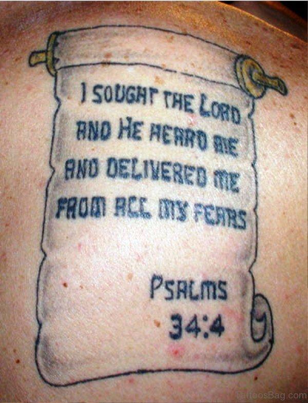 Bible Scroll Tattoo On Back