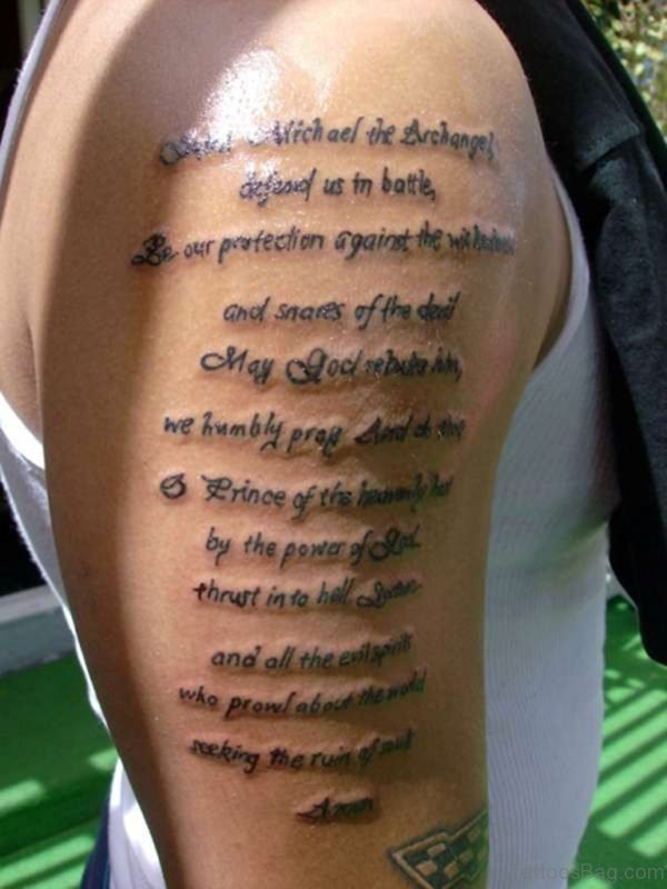 Bible Verses Tattoo On Half Sleeve