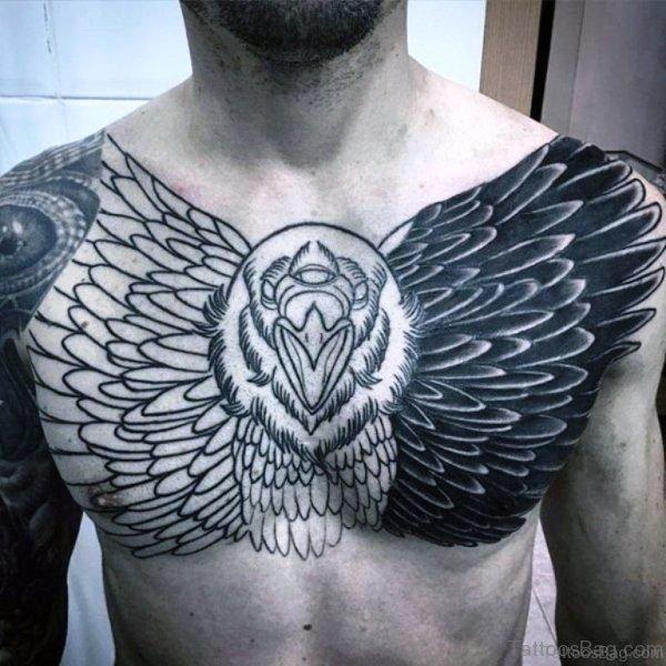Big Black Eagle Tattoo On Chest
