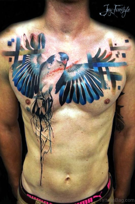 31 dazzling blue bird tattoos on chest. Black Bedroom Furniture Sets. Home Design Ideas