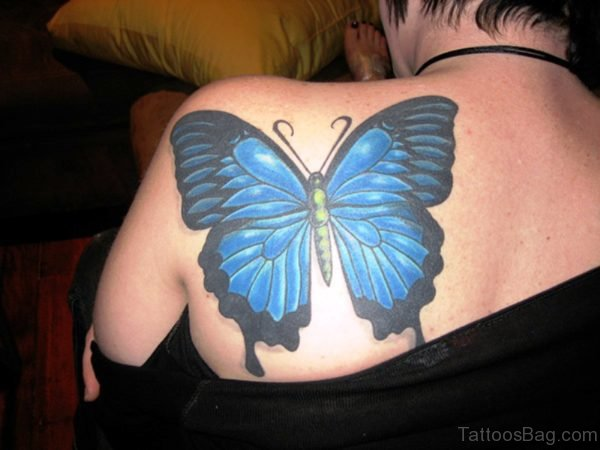 Big Blue Butterfly Tattoo On Shoulder