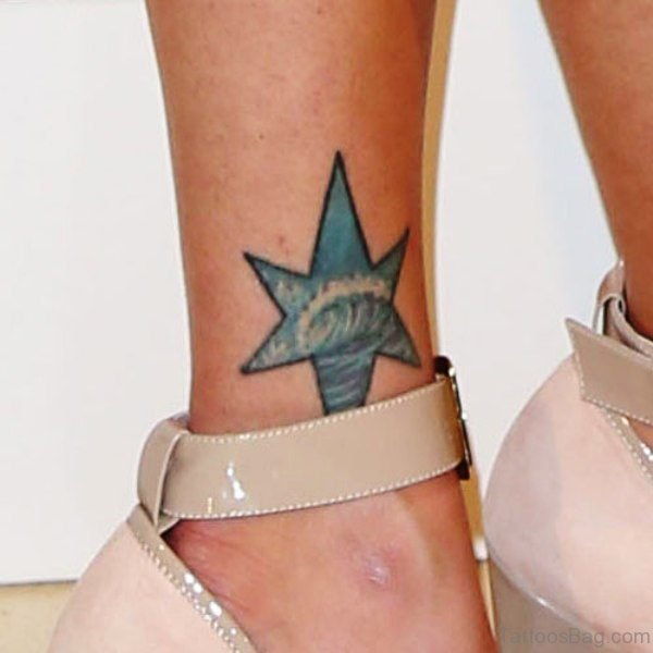 Big Blue Star Tattoo On Ankle