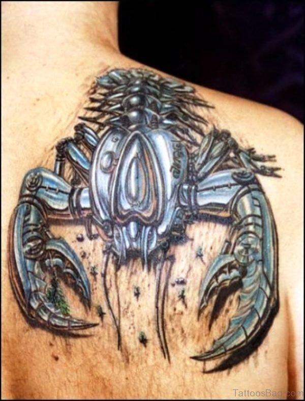 Big Cancer Tattoo On Shoulder