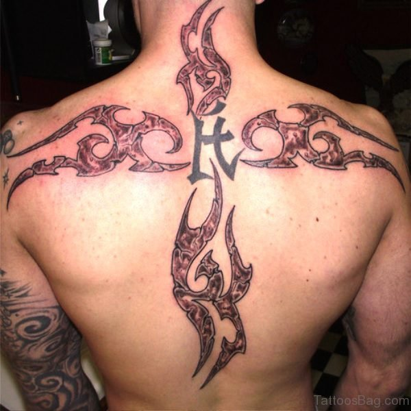 Big Cross Design Tattoo On Back