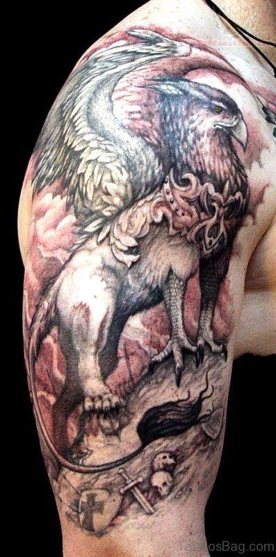 Big Griffin Tattoo On Shoulder