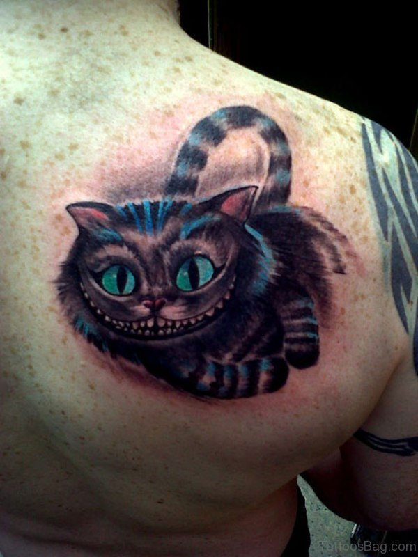 Big Lauging Cat Tattoo On Shoulder