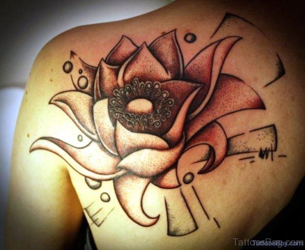 Big Lotus Tattoo On Shoulder
