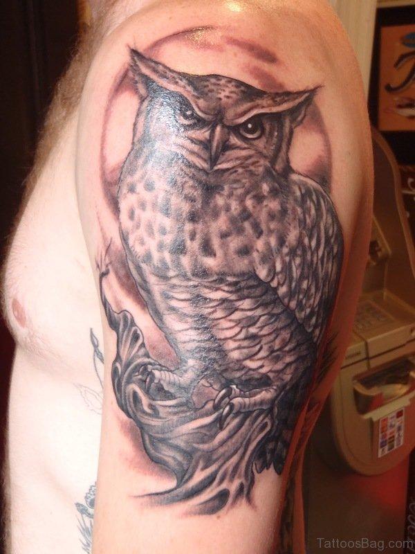 Big Owl Tattoo On Left Shoulder