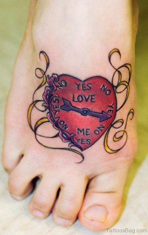 Big Red Heart Tattoo On Foot