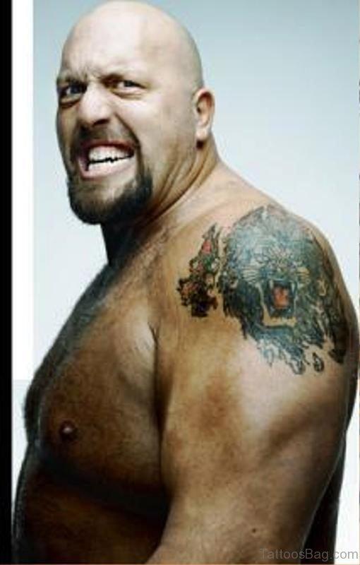 Big Show Lion Tattoo On Shoulder