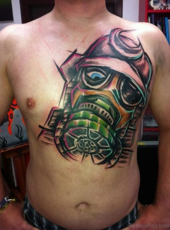 Bio Mask Abstract Tattoo On Chest