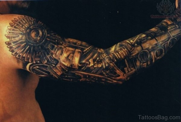 Bio Mechanical Tattoo Design On Full Sleeve
