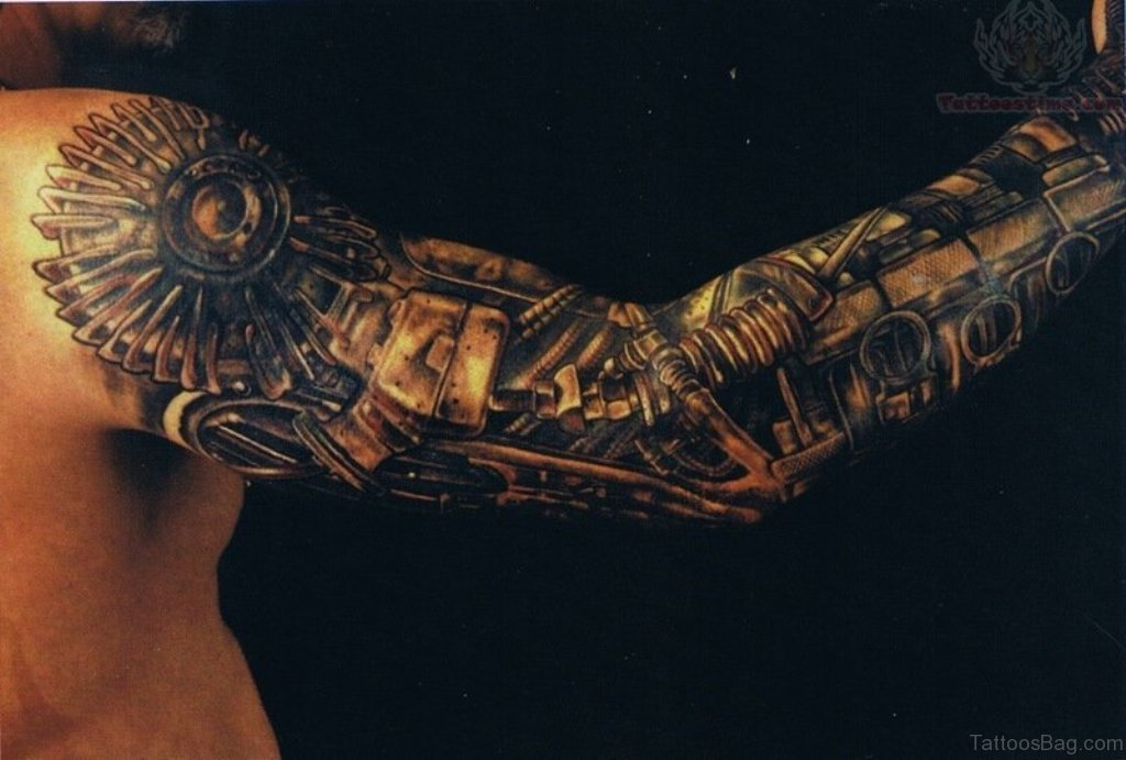 21440c5259f67 Bio Mechanical Tattoo Design On Full Sleeve