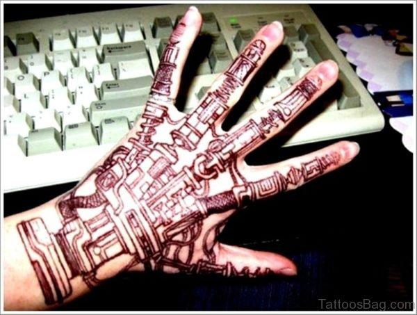 Bio Mechanical Tattoo Design On Hand