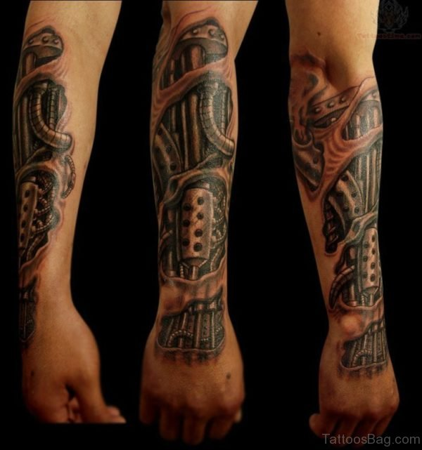 Bio Mechanical Tattoo For Arm