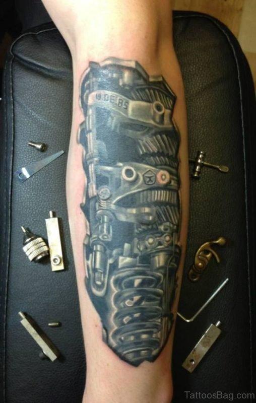 Bio Mechanical Tattoo On Arm Image