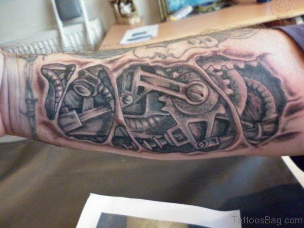 Bio Mechanical Tattoo On Arm