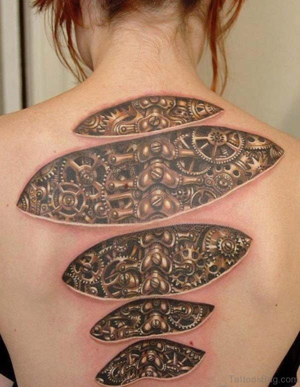 Bio Mechanical Tattoo On Back