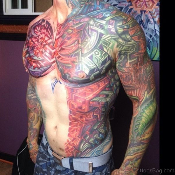 Bio Mechanical Tattoo On Chest