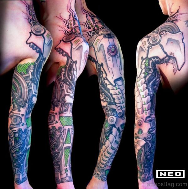 Bio Mechanical Tattoo On Full Sleeve