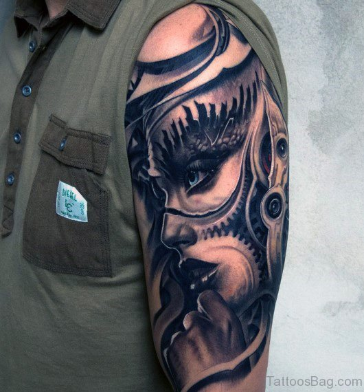 Bio Mechanical Tattoo On Half Sleeve