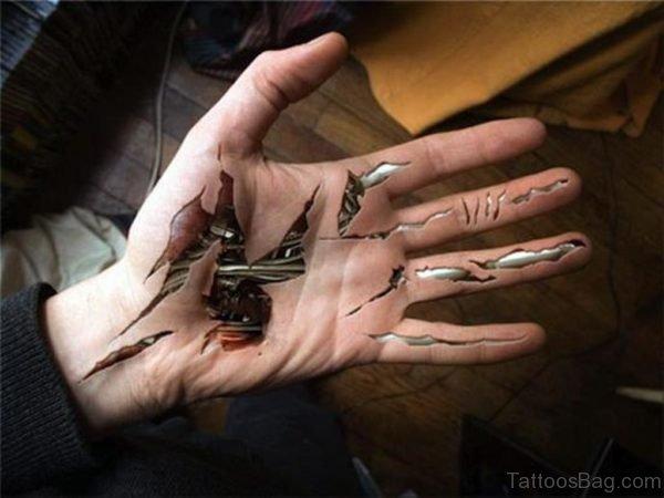 Bio Mechanical Tattoo On Hand