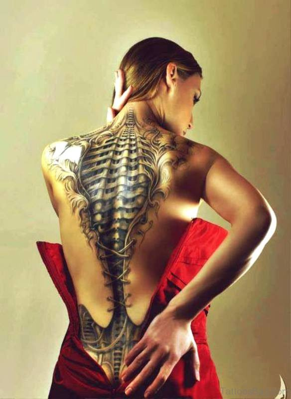 Biomechanical Skeleton Tattoo On Back