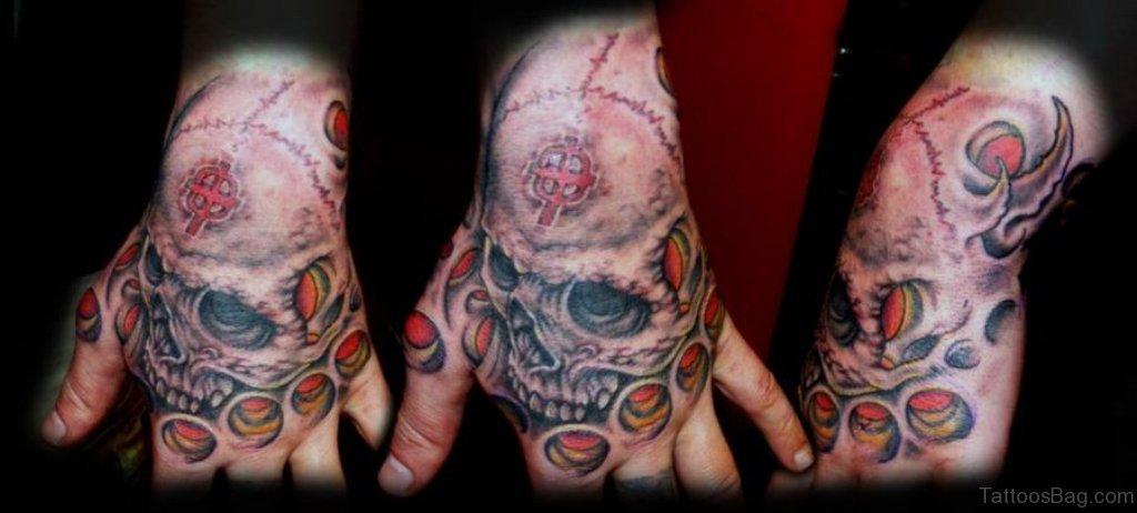 80 classic skull tattoos on hand for Biomechanical hand tattoo designs