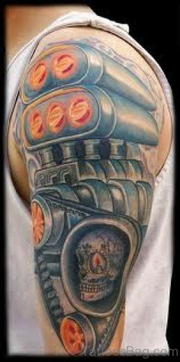 Biomechanical Skull Tattoo On Half Sleeve