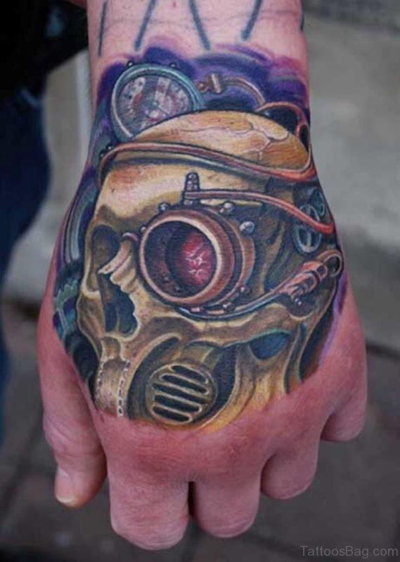 Biomechanical Skull Tattoo On Hand