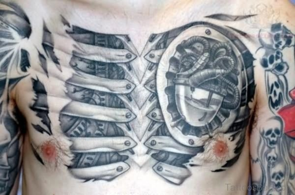 Biomechanical Tattoo Design On Chest