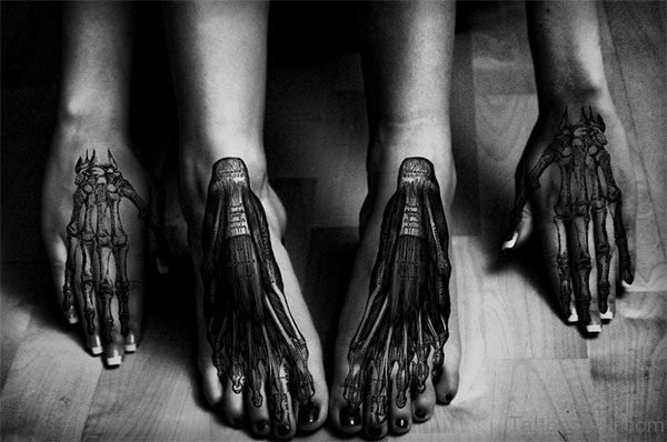 Biomechanical Tattoo On Foot