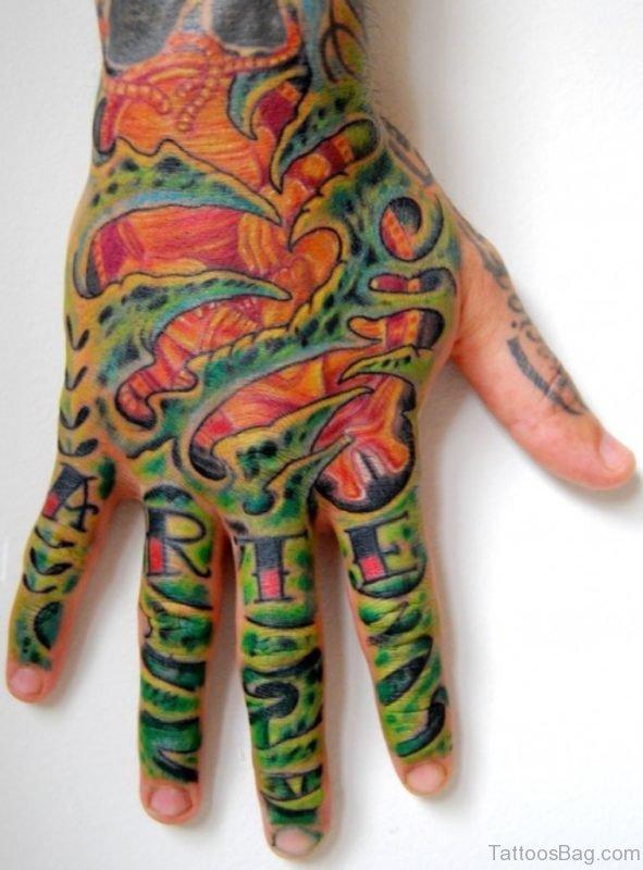 Biomechanical Tattoo On Hand