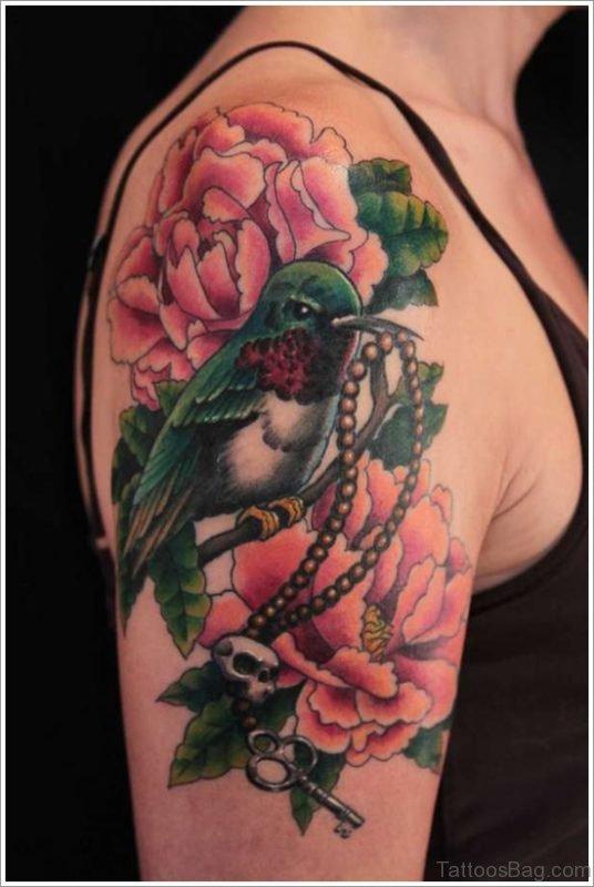 Bird And Flower Tattoo On shoulder