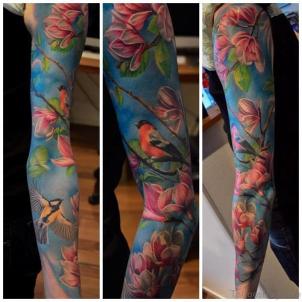 Bird And Magnolia Tattoo On Full Sleeve