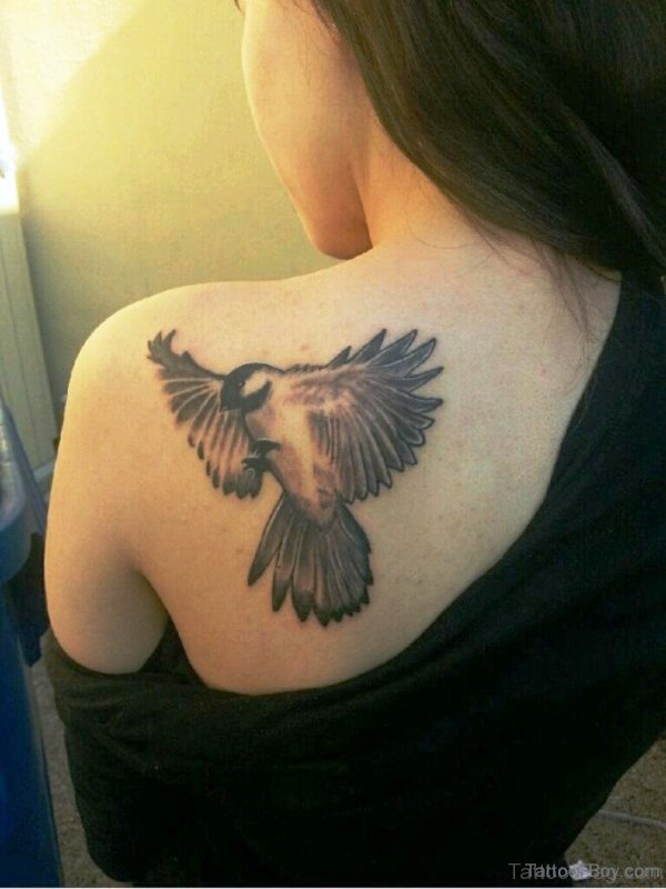 Bird Tattoo On Back Shoulder