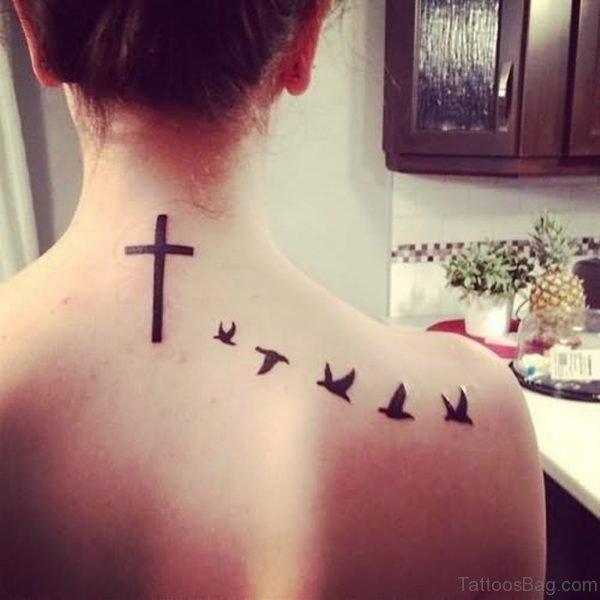 Birds And Cross Tattoo