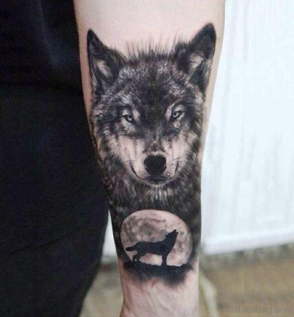 Black Alpha Wolf Tattoo Design