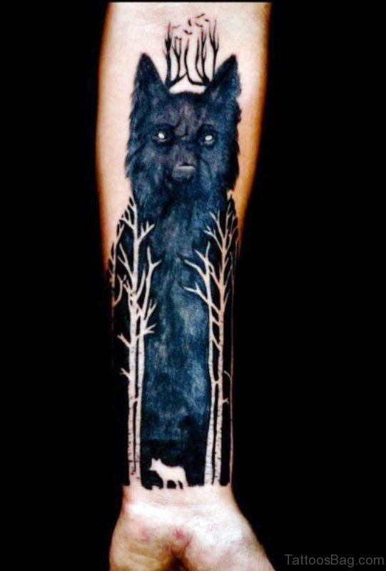 Black Alpha Wolf Tattoo On Arm
