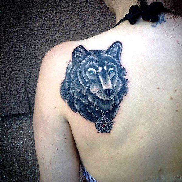 Black Alpha Wolf Tattoo On Back Shoulder
