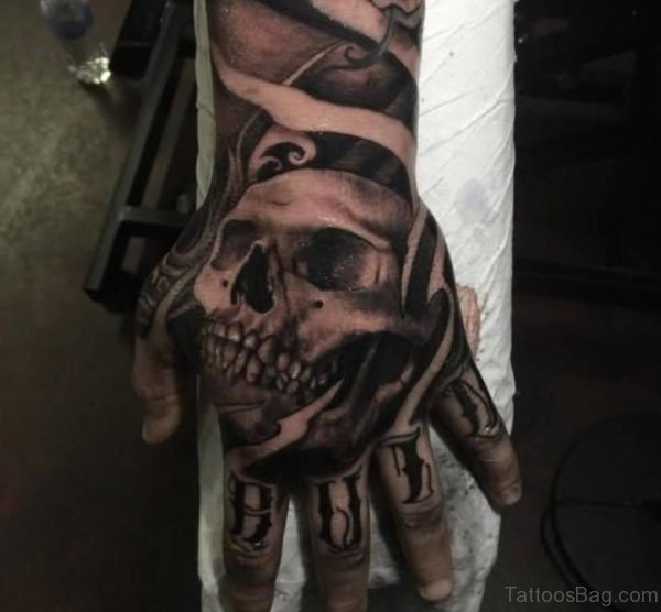 Black And Grey 3D Horror Skull Tattoo On Hand
