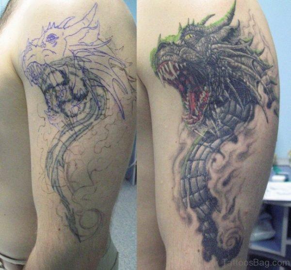 Black And Grey Dragon Tattoo