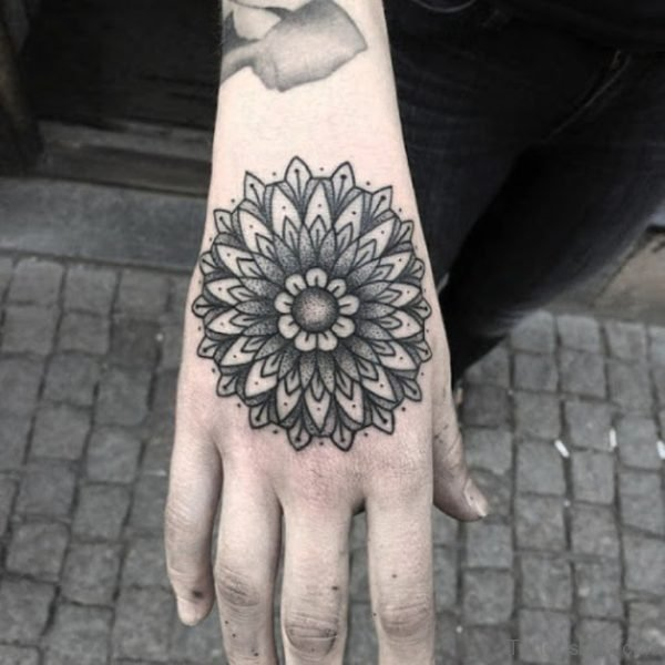 Black And Grey Mandala Tattoo